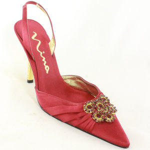 New NINA New York Red Satin Jeweld Slingback Heels